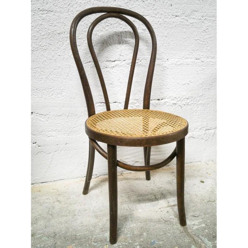 Chaise bistrot en bois cintré et assise cannée   Old'Upcycling
