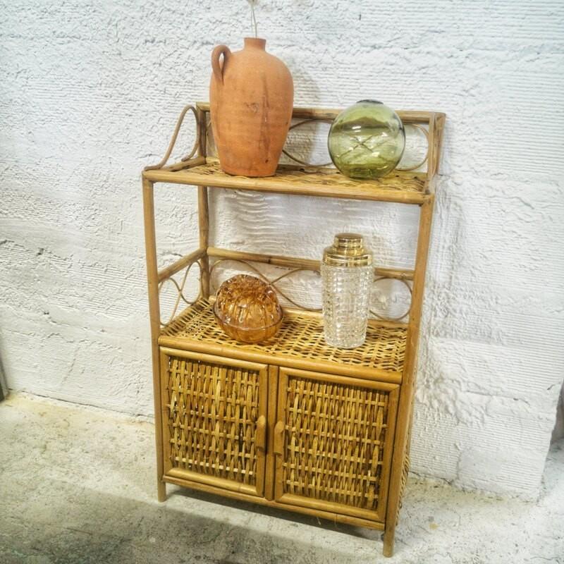 Etagère vintage en rotin| Old'Upcycling