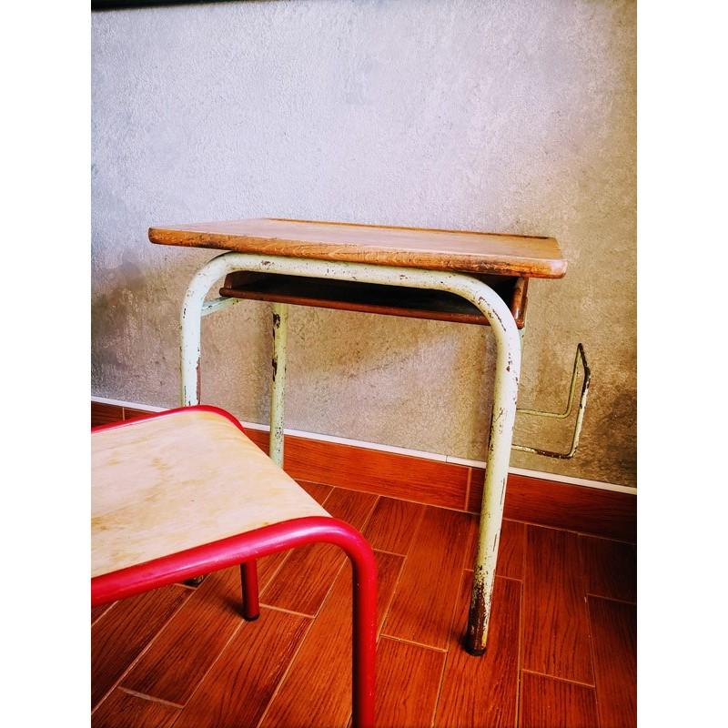 Bureau d'écolier avec porte-cartable | Old'Upcycling