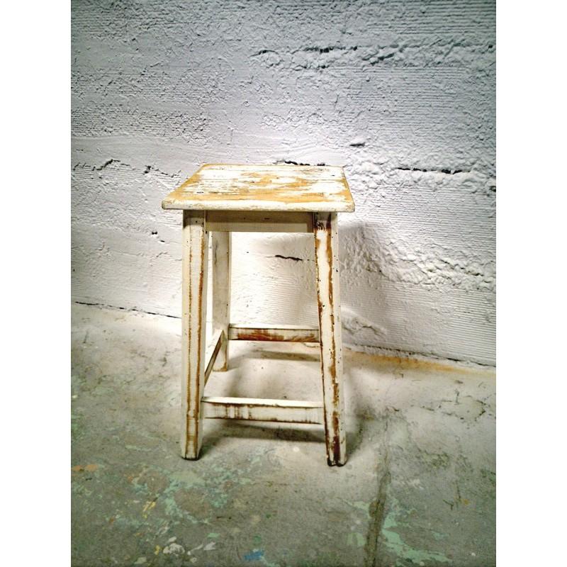 Ancien tabouret de peintre blanc | Old'Upcycling