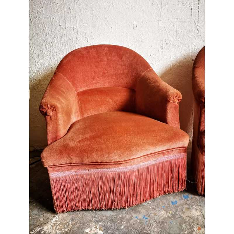 Fauteuil crapaud à franges | Old'Upcycling