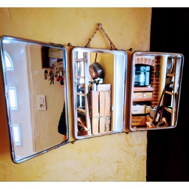 Miroir de barbier triptyque | Old'Upcycling