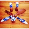 Service à salade en bois et porcelaine