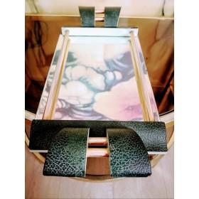 Plateau miroir bordé de cuir