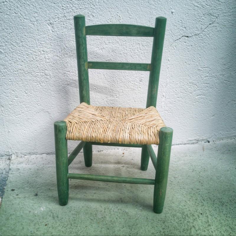 Chaise enfant en bois et paille | Old'Upcycling