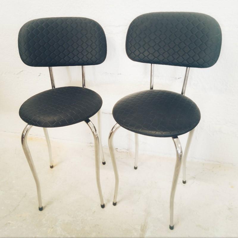 Paire de chaises chrome et skaï noir | Old'Upcycling