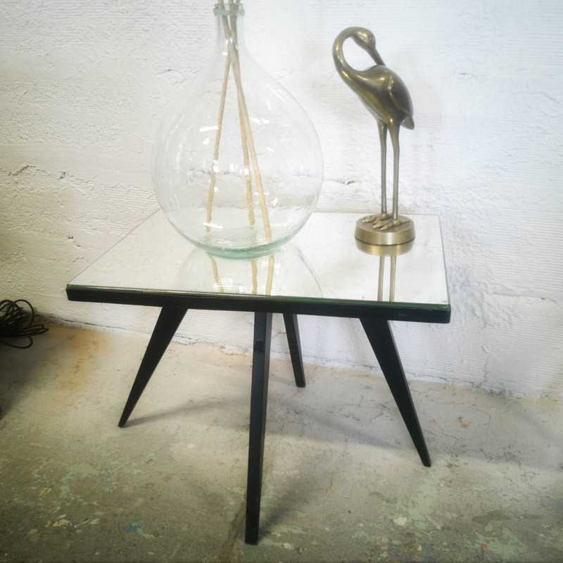 Table d'appoint au plateau miroir   Old'Upcycling