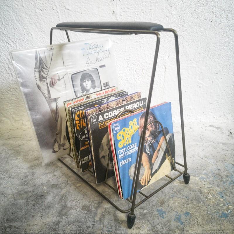 Porte Vinyles doré vintage | Old'upcycling