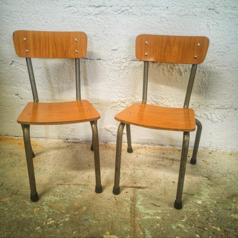 Paire de chaises enfant vintage de cantine en formica   Old'upcycling