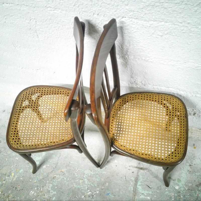 Paire De Chaises Bistrot Assise En Skai