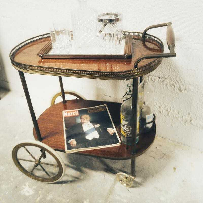 Chariot de bar vintage à roulettes | Old'Upcycling