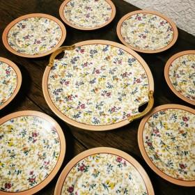 Service à gâteau à fleurs