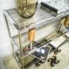 Console vintage en métal et verre fumé | Old'Upcycling