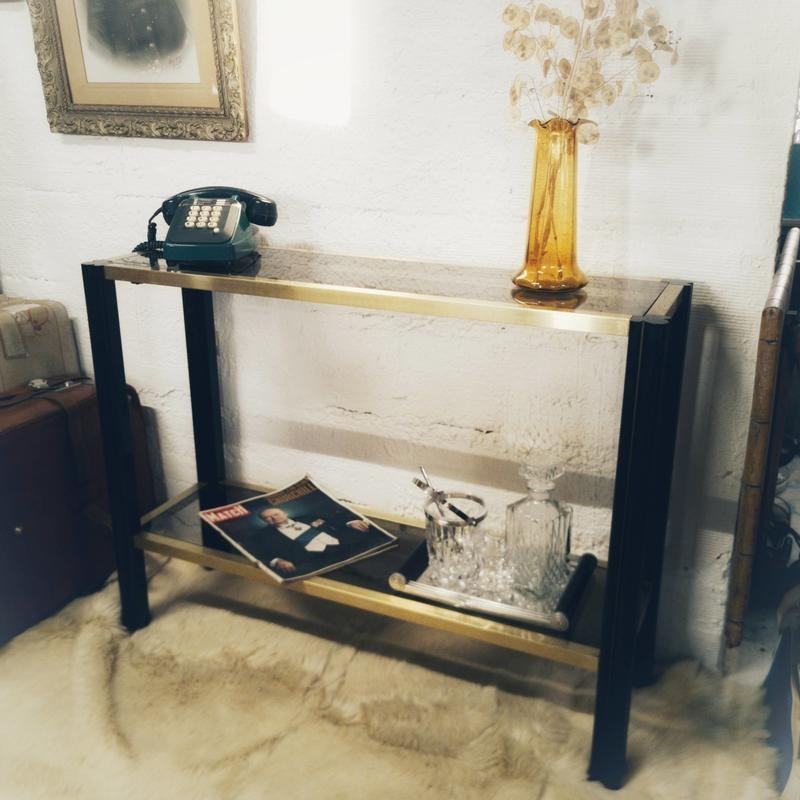 Console vintage en bois et verre fumé | Old'Upcycling