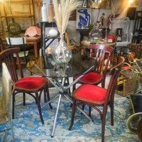 Table vintage plateau en verre