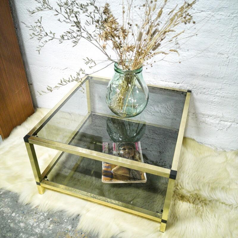Table basse dorée et verre fumé | Old'Upcycling