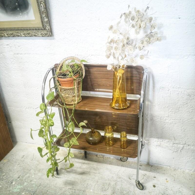 Desserte pliante vintage à roulettes | Old'Upcycling