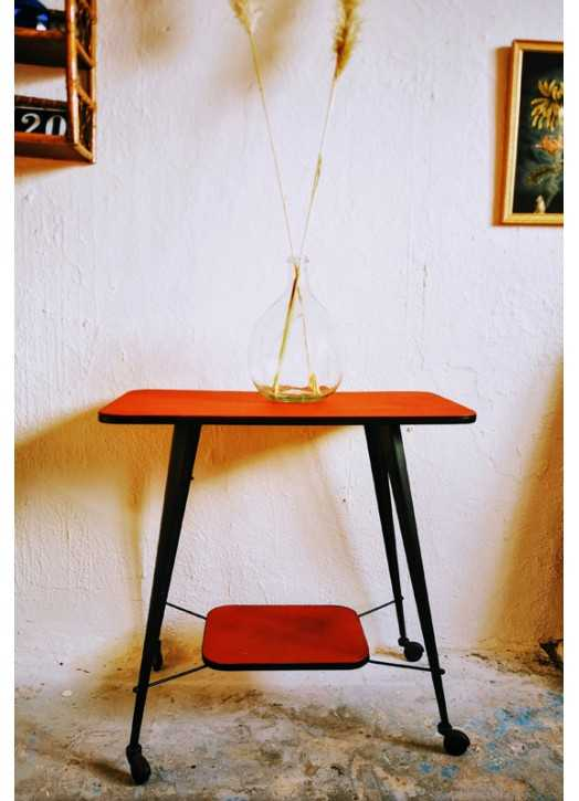 Meuble tv vintage vinyle rouge   Old'Upcycling