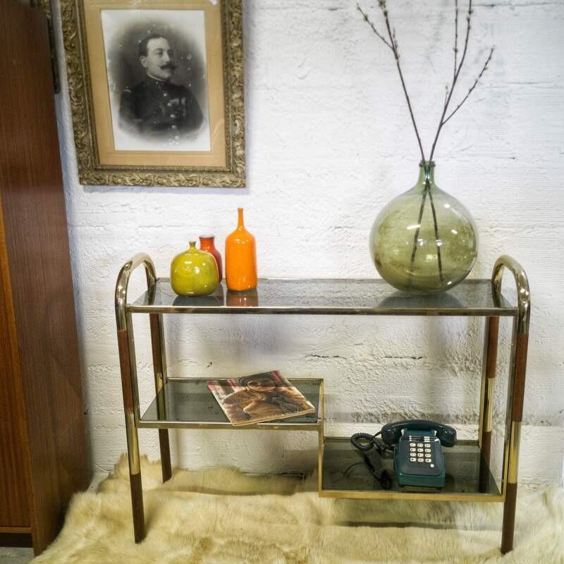 Console vintage en bois et métal doré   Old'Upcycling