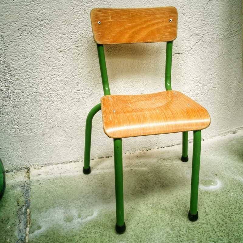 Chaise écolier verte | Old'Upcycling