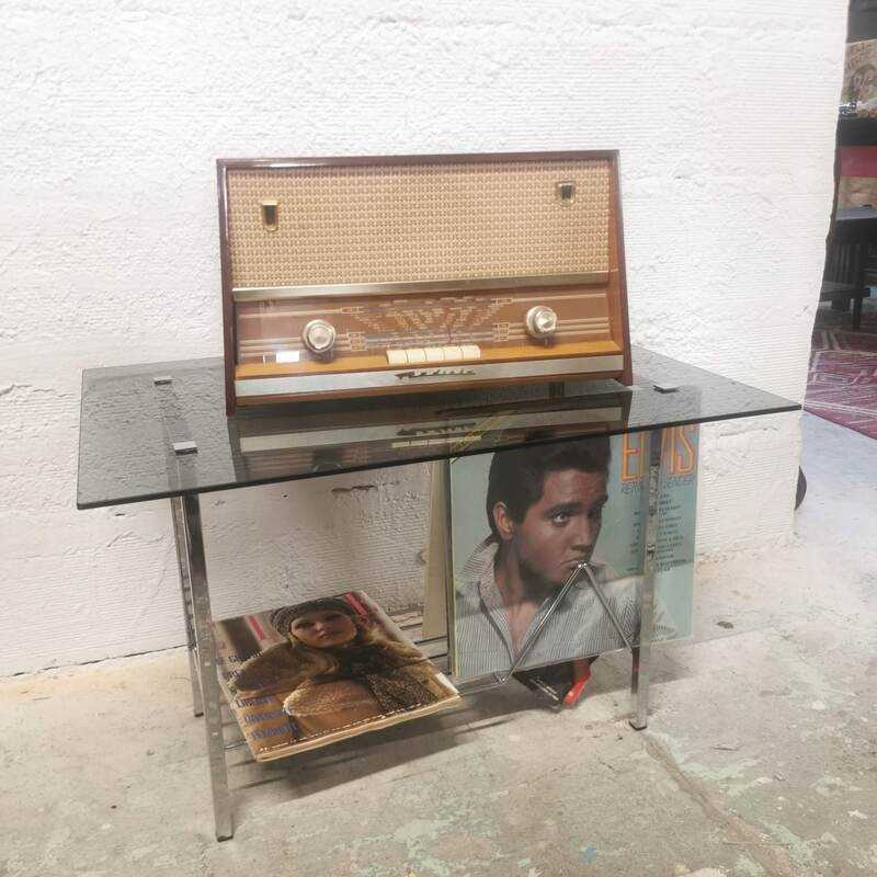 Table d'appoint porte-vinyles   Old'Upcycling