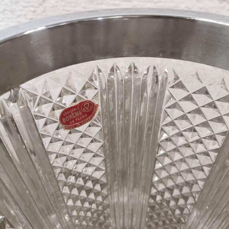 Table vintage en verre fumé