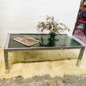 Table basse vintage verre fumé