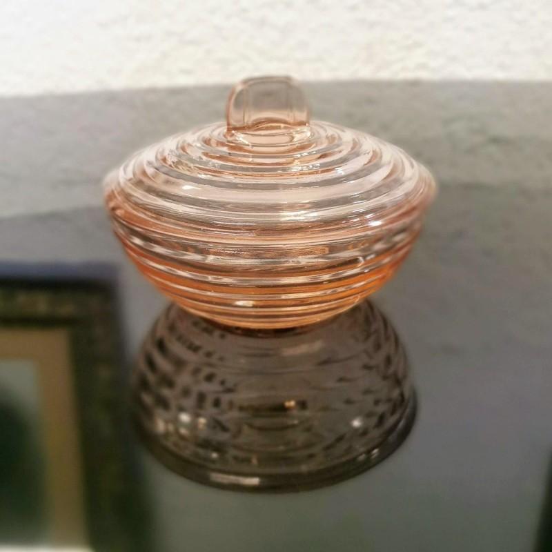 Bonbonnière rose en verre | Old'upcycling