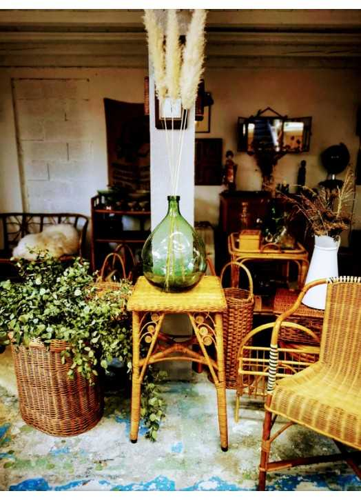 Table d'appoint en osier et rotin | Old'Upcycling