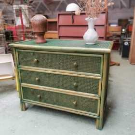 Commode en rotin et cannage