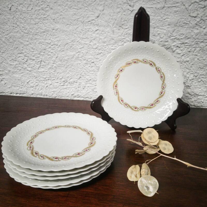 6 assiettes à dessert en porcelaine - dorure à l'or fin| Old'Upcycling